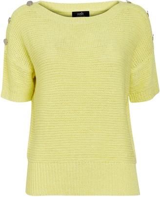 Wallis Yellow Button Short Sleeve Jumper