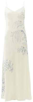 Carine Gilson Floral Print Silk Satin Slip Dress - Womens - White Print