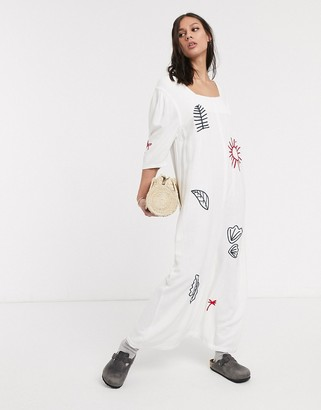 L.F. Markey tuesday embroidered shift midi dress in white