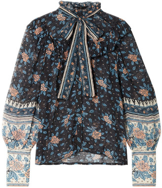 Ulla Johnson Antoine Pussy-bow Floral-print Fil Coupe Silk-blend Chiffon Blouse