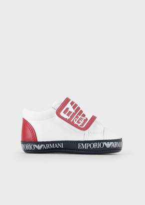 Emporio Armani Nappa Leather Sneakers With Logoed Velcro