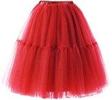 Lamgo Women's Vintage Tutu Skirts Midi Knee Length Underskirts Petticoats
