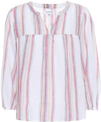 Velvet Miranda striped linen-blend blouse