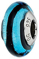Murano Prerogatives Black & Blue Stripes Italian Glass Bead