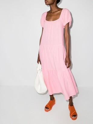 HONORINE Puff Sleeve Midi Dress