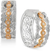 Effy Duo by Diamond Hoop Earrings (3/8 ct. t.w.) in 14k Gold and White Gold