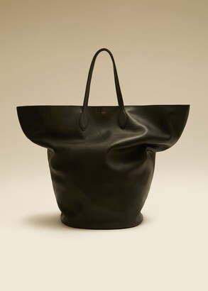 KHAITE The Large Circle Tote in Black Leather