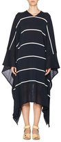 Stella McCartney Striped V-Neck Caftan Sweater, Dark Blue