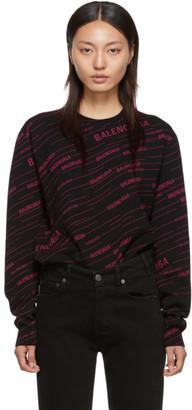 Balenciaga Black and Pink Logo Stripe Sweater