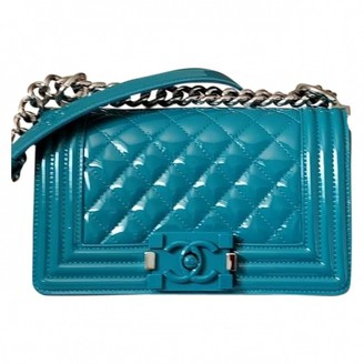 Chanel Boy Turquoise Patent leather Handbags