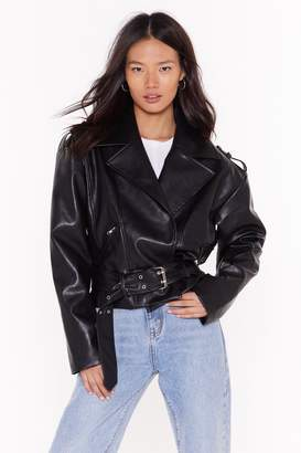 Nasty Gal Womens Love Leather Belt So Good Faux Leather Jacket - black - 8