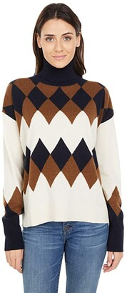 J.Crew Argyle Cashmere Turtleneck (Heather Muslin Walnut Navy) Women's Clothing