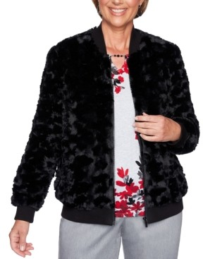 Alfred Dunner Well Red Faux-Fur Bomber Jacket
