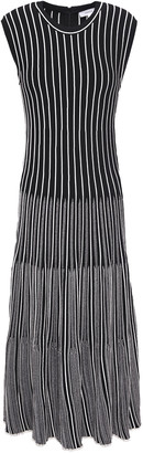 CASASOLA Pleated Striped Jacquard-knit Midi Dress