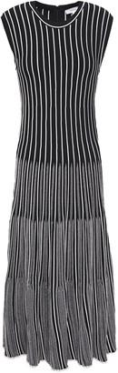 CASASOLA Striped Ribbed Jacquard-knit Midi Dress