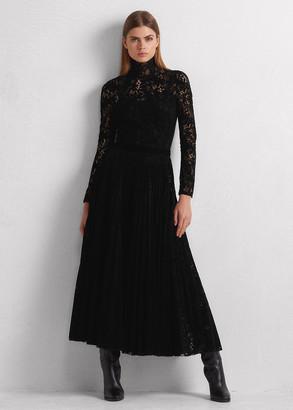 Ralph Lauren Christa Flocked Paisley Lace Dress