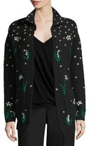 Valentino Lily of the Valley Hand-Embroidered Virgin Wool Cardigan