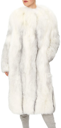 Oscar de la Renta Arctic Marble Fox Fur Collarless Coat