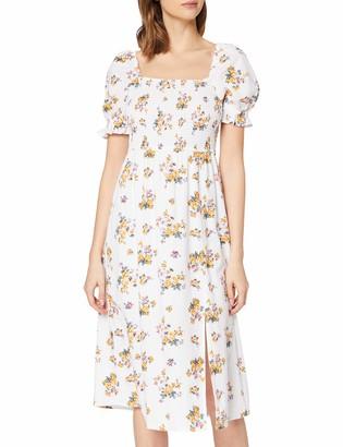 Dorothy Perkins Women's Ivory Print Linen Milkmaid Midi Dress 16