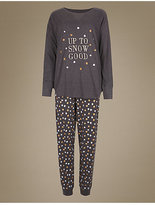 M&S Collection Cotton Rich Snow Print Long Sleeve Pyjamas