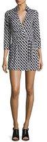 Diane von Furstenberg Celeste 3/4-Sleeve Jersey Wrap Romper, Black/White
