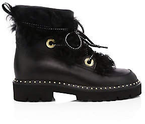 Montelliana 1965 Women's Jolie Shearling-Trimmed Leather Combat Boots