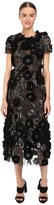 Marchesa Tulle Cocktail with Gunmetal and Jet 3D Feather Flower Embroidery Women's Dress