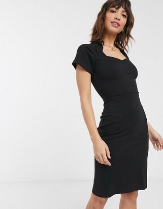 French Connection twist neck midi dress-Black