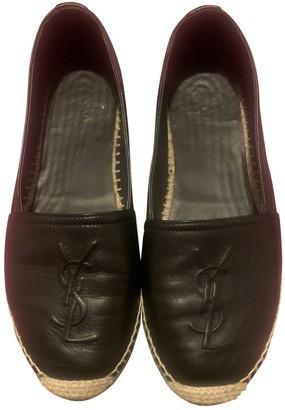 Saint Laurent Cassandra Black Leather Espadrilles