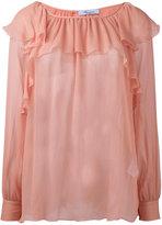 Blumarine ruffled sheer blouse