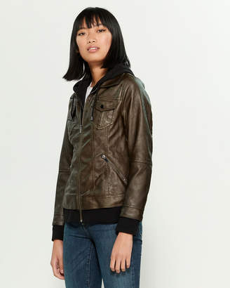 Bagatelle Faux Leather Hoodie Jacket