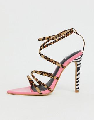 Public Desire Safari mixed animal print strappy heeled sandals