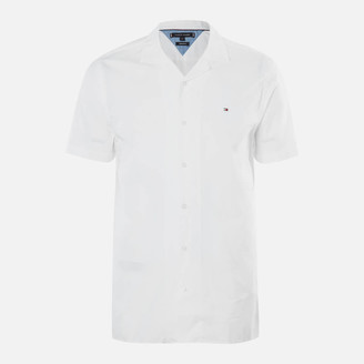 Tommy Hilfiger Men's Solid Hawaiian Shirt Short Sleeve Shirt