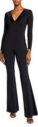 Chiara Boni Velvet Collar Long-Sleeve Flare-Leg Tux Jumpsuit