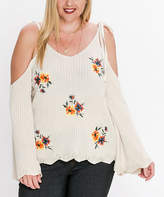 Flying Tomato Cream Floral-Embroidery Cold-Shoulder Top - Plus
