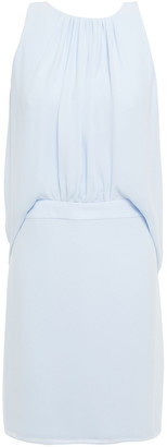 Halston Gathered Crepe De Chine Mini Dress