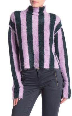 Blanknyc Denim Striped Mock Neck Sweater