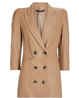 ZEYNEP ARCAY Leather Double-Breasted Blazer