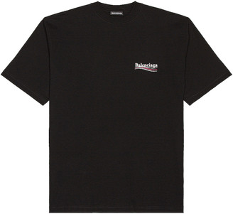 Balenciaga Short Sleeve Large Fit Tee in Black & White | FWRD