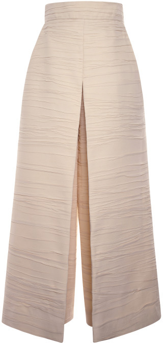 Proenza Schouler Ecru Pleated Crepe Cropped High Waisted Pant