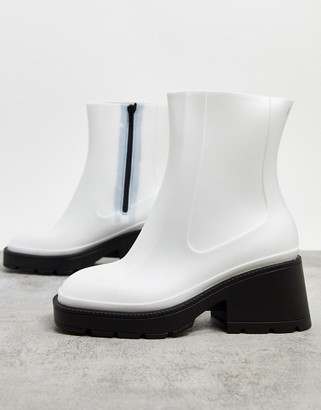 ASOS DESIGN Grounded mid-block chunky heel rain boots in white