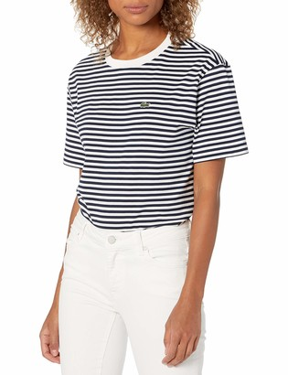 Lacoste Women's Short Sleeve Striped Crewneck T-Shirt