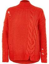 River Island Womens Bright Red cable knit high neck jumper