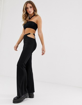 Motel high waist flared pants with cut out chain detail co-ord