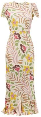 Rhode Resort Lulani Floral-print Crepe De Chine Dress - Cream Multi