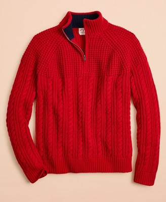 Brooks Brothers Half-Zip Merino Wool Cable-Knit Sweater