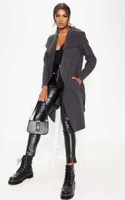 PrettyLittleThing Charcoal Oversized Waterfall Belted Coat