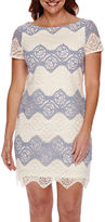 London Times London Style Collection Short-Sleeve Lace Sheath Dress - Petite