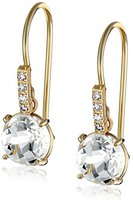 Suzanne Kalan The Classics Yellow Gold Round White Topaz and Diamond Earrings