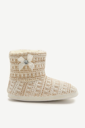 Ardene Metallic Boot Slippers with Faux Gem